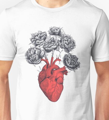 Heart with peonies Unisex T-Shirt