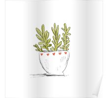 Succulent in Heart Planter Poster