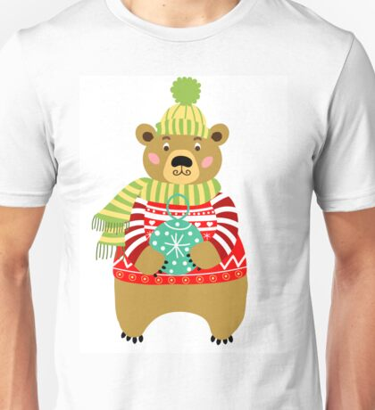 Bear in red knitted sweater.  Unisex T-Shirt