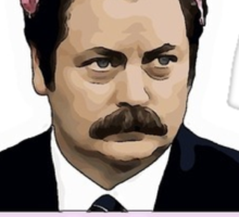 Ron Swanson Cartoon Couldn't Care Less Sticker