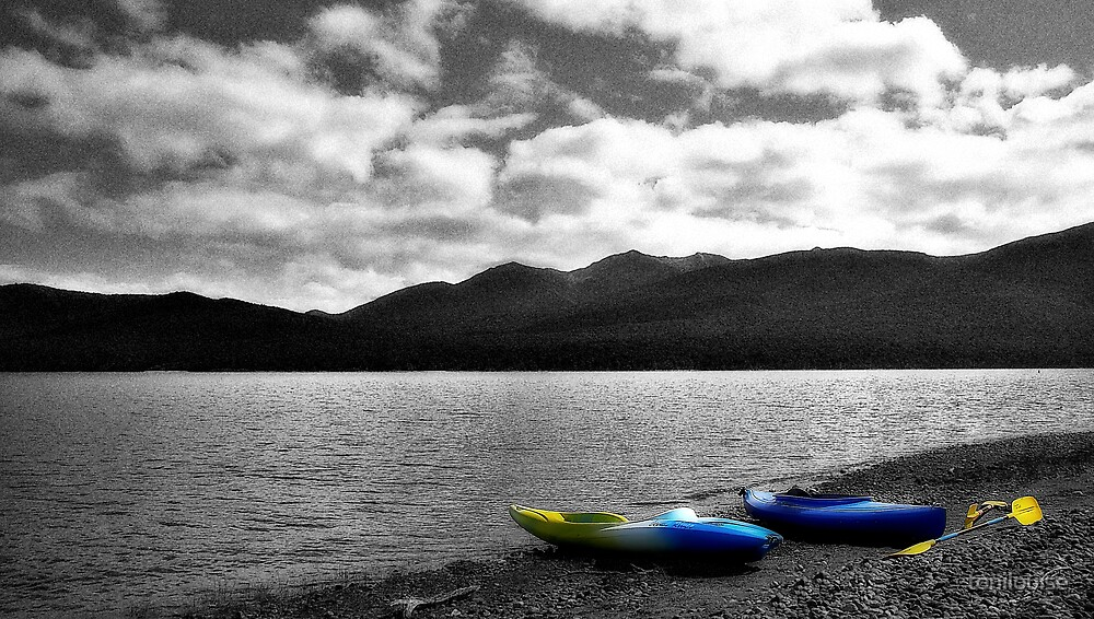 Two Canoes by Lake Te Anau by tonilouise