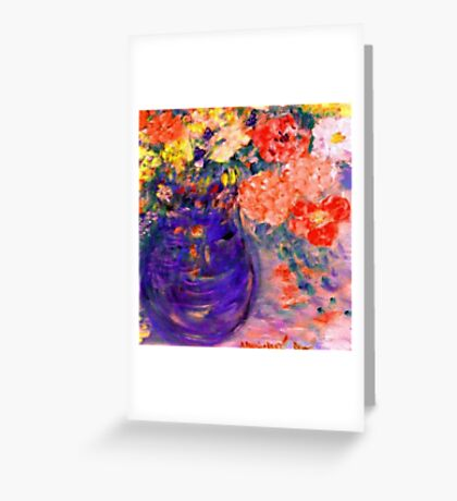 Romance Flowers in Purple Vase Artist Decor & Gifts Greeting Card