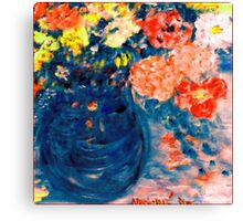 Romance Flowers in Blue Vase Artist Decor & Gifts Canvas Print