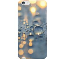 Close up photo of raindrops lit by sunset light iPhone Case/Skin