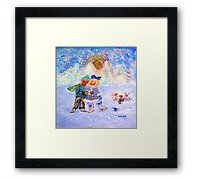 Skaters in Love Decor & Gift by Marie-Jose Pappas Blue Framed Print