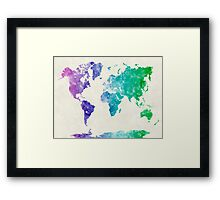 World map in watercolor multicolored Framed Print