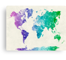 World map in watercolor multicolored Canvas Print