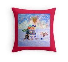 Skaters in Love Decor & Gift by Marie-Jose Pappas Throw Pillow