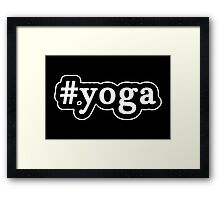 Yoga - Hashtag - Black & White Framed Print
