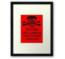 Pirate Morale, Skull & Crossbones, Bucaneers, Me Harties! Framed Print