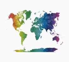 World map in watercolor rainbow Kids Clothes