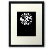 Seal of Rassilon - Classic Doctor Who - White on Black (Distressed) Framed Print
