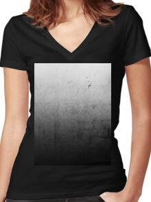 Black Ombre on Concrete Texture Women's Fitted V-Neck T-Shirt