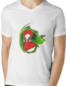 Girl and frog Mens V-Neck T-Shirt