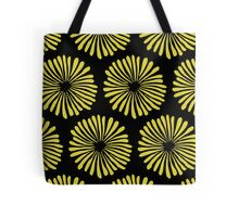 Yellow daisies on black background pattern Tote Bag