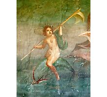 Boy Nymph, Naked, Riding Dolphin, Fresco, Pompeii Photographic Print