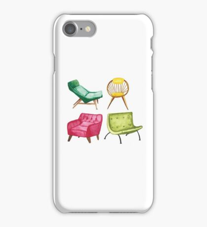 Mid Century Modern Chairs Watercolor iPhone Case/Skin