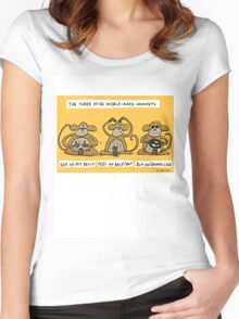 the three wise middle aged monkeys Women's Fitted Scoop T-Shirt