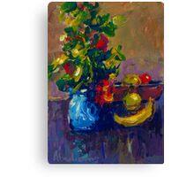 BLUE VASE AND FRUIT Canvas Print