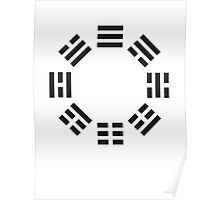 I Ching symbol, Book of Changes, Black on White Poster