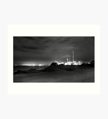 Kwinana Power Station At Night (B&W)  Art Print