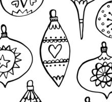 Retro Christmas Ornaments Sticker