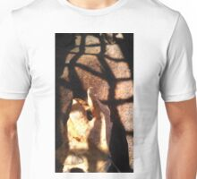 Leaf points through light grate Unisex T-Shirt