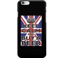 UNION JACK, FLAG, KEEP CALM & BUY A BEER, UK, ON BLACK iPhone Case/Skin
