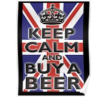 UNION JACK, FLAG, KEEP CALM & BUY A BEER, UK, ON BLACK Poster