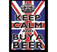 UNION JACK, FLAG, KEEP CALM & BUY A BEER, UK, ON BLACK Photographic Print