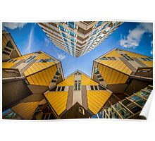 Yellow cubic houses in Rotterdam Poster