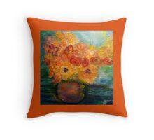 Autumn Flowers Art Designed  Throw Pillow