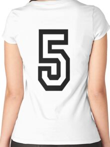 5, TEAM, SPORTS, NUMBER 5, FIFTH, FIVE, Competition,  Women's Fitted Scoop T-Shirt