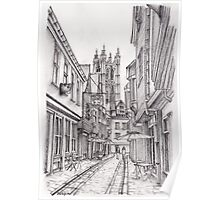 Cobbled street with view to Canterbury Cathedral Poster
