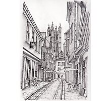 Cobbled street with view to Canterbury Cathedral Photographic Print