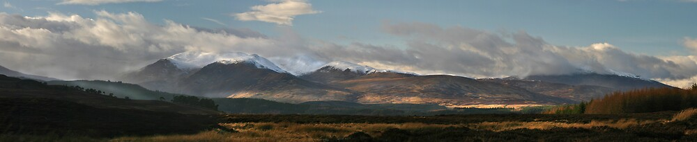 Scottish Highland Glens Panorama by Chris Clark