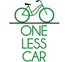 One Less Car Earth Friendly Bicycle Photographic Print