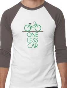 One Less Car Earth Friendly Bicycle Men's Baseball ¾ T-Shirt