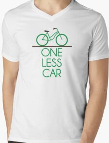 One Less Car Earth Friendly Bicycle Mens V-Neck T-Shirt
