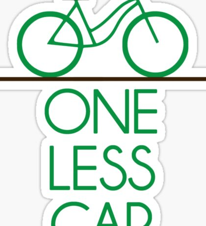 One Less Car Earth Friendly Bicycle Sticker