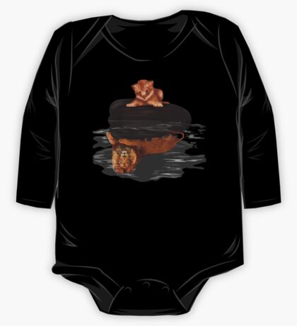 Cute little simba and the big old lion king reflection One Piece - Long Sleeve