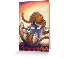 Roof Top Cats - Left Panel Greeting Card