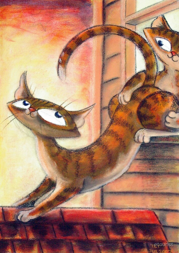 Roof Top Cats - Right Panel by etourist
