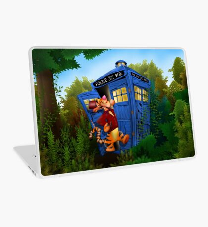 Doctor Tiger with Blue Phone Box Laptop Skin