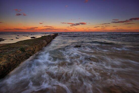 Bar Beach Breakwall at Dusk by Mark Snelson