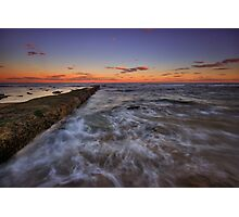 Bar Beach Breakwall at Dusk Photographic Print