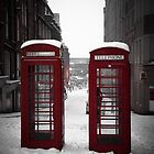 Christmas in Birmingham - Telephone Boxes in the Snow by Tim Cornbill
