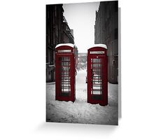 Christmas in Birmingham - Telephone Boxes in the Snow Greeting Card