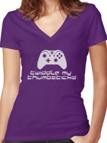 Twiddle My Thumbsticks (White) Women's Fitted V-Neck T-Shirt