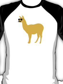 Funny llama with sunglasses and mustache T-Shirt